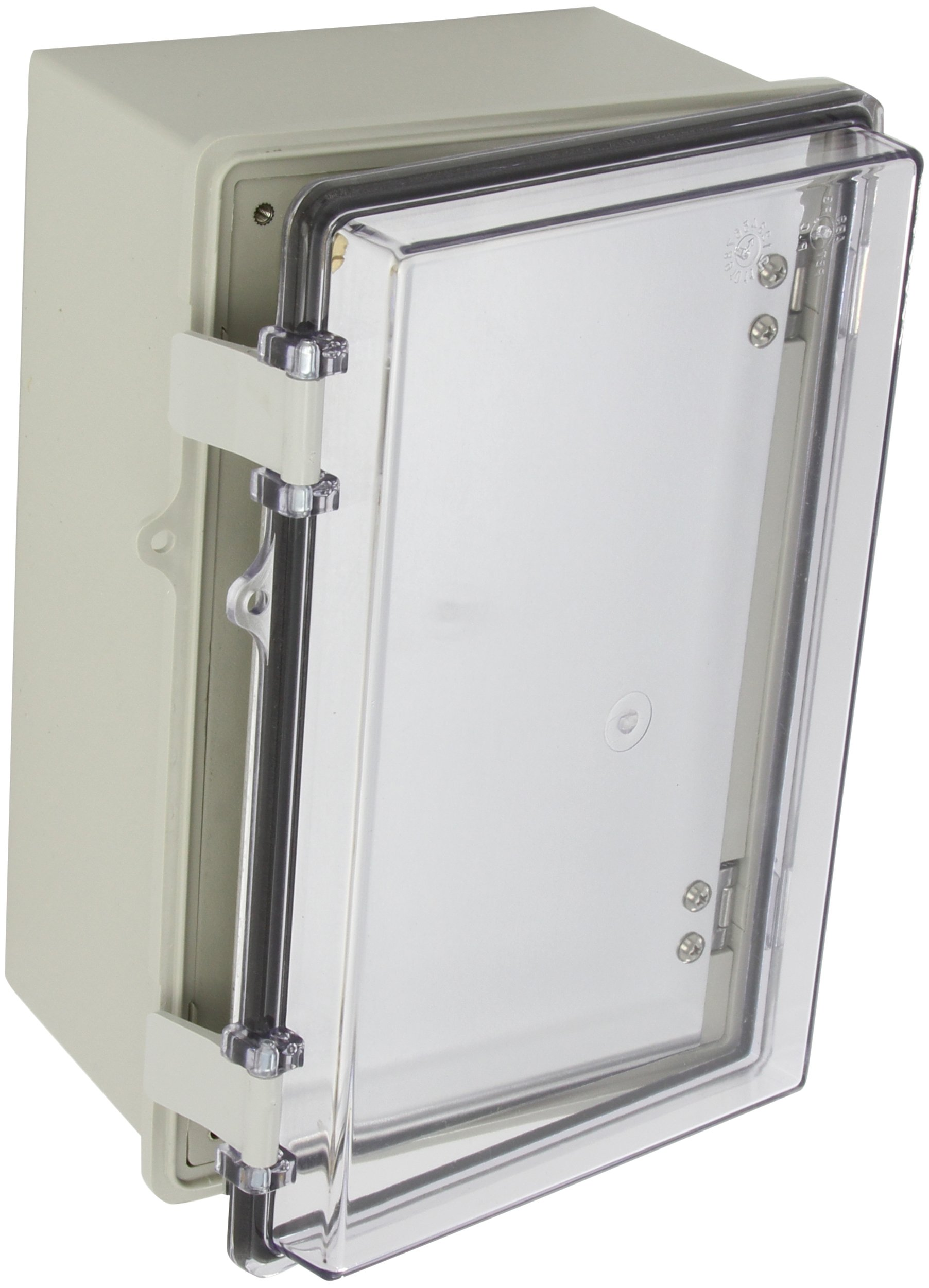 """BUD Industries NBE-10563 Style E Plastic Indoor Box with Clear Door, 11-17/64"""" Length x 7-15/32"""" Width x 5-1/2"""" Height, Light Gray Finish"""
