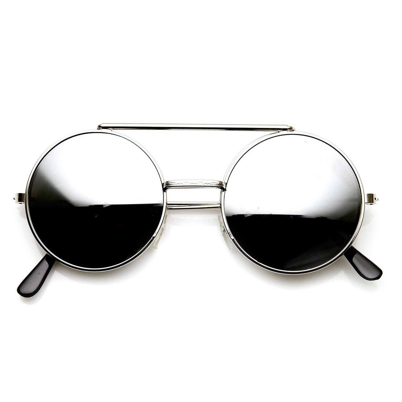 b1f6bfafd zeroUV - Limited Edition Color Flip-Up Lens Round Circle Django Sunglasses