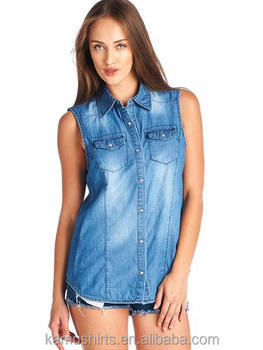 8b09b6de7510 Ladies Sleeveless Jean Chambray Denim Shirt Dress - Buy Ladies ...