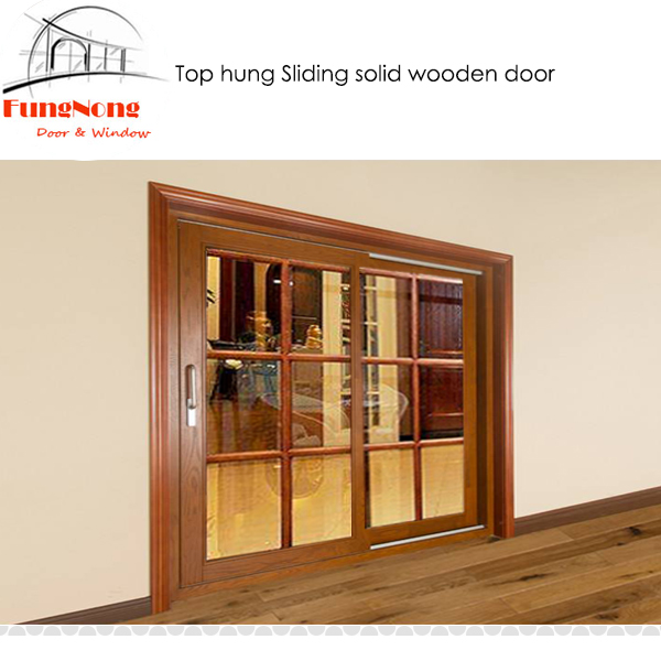 FD0036  Interior Room Partition Solid Wooden With Glass Insert Top Hung  Sliding Door