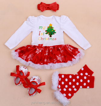 022a6b42b6b Baby children high quality funny romper Christmas ruffle romper 4 pieces set