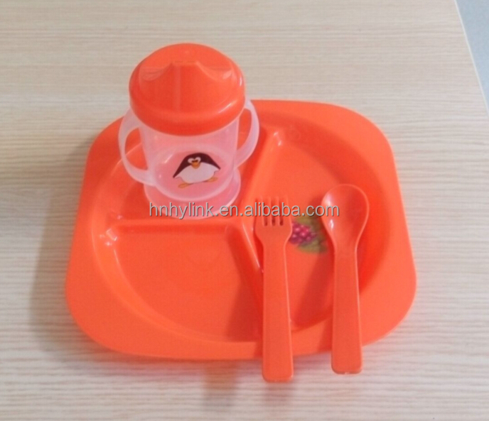 orange-color PP plastic kids dinnerware set (model number:SC07002)