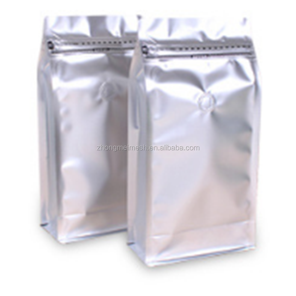 two pound bag side sealed bags with valve aluminum foil zip lock straight shape aluminum foil tea bag
