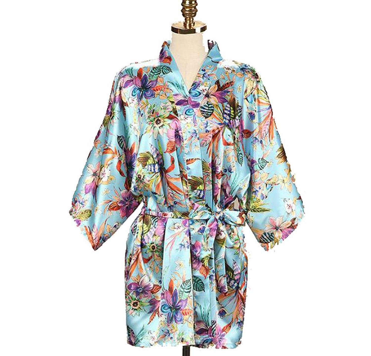 fad433f0f5 Get Quotations · Zarachilable New Satin Floral Robe