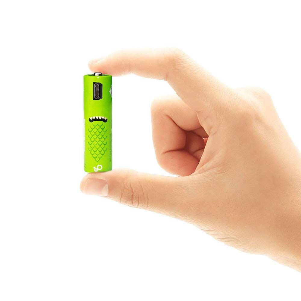 USB Rechargeable Battery AA/AAA Lithium 18650 Battery 1.2V/1000mAh 500 times Recycling Eco-friendly Lovely Look 2 pack/4 pack/8 pack Digital mini USB Line attached (AA, 2pcs Pack)