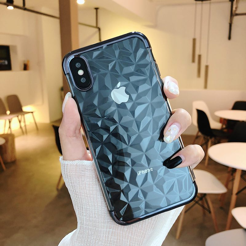 2018 Multiple color Diamond pattern Crystal Transparent Clear Phone Case Mobile Phone <strong>Cover</strong> For iPhone XS mas XR Case