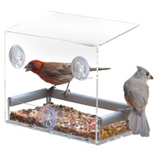 Clear winow bird feeder love birds with removeable tray