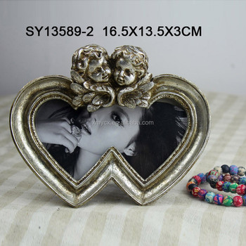 Heart Shaped Double Angel Photo Frames Wedding Favors - Buy Heart ...