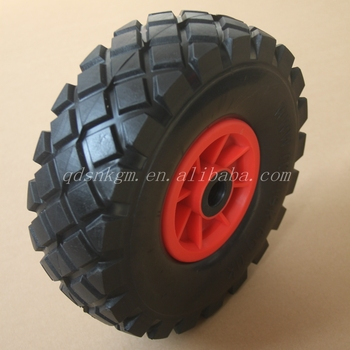 3.50-4 Solid PU Rubber Wheelbarrow Wheel With Plastic Rim And Roller Bearings