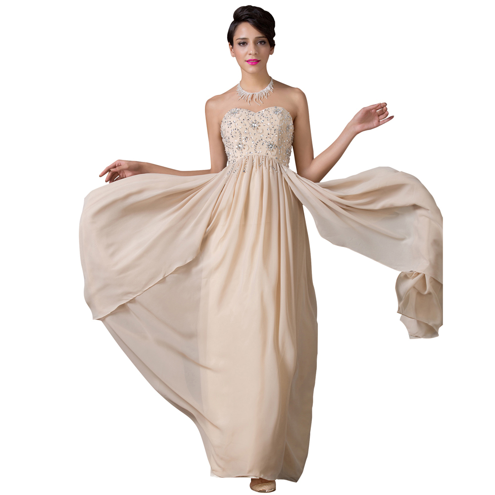 ec3ed005704 Free Shipping Stock Strapless Apricot Evening dresses Beading Long  Celebrity dress Formal Floor Length Ruffle Party