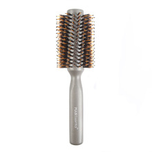 Household metallic rubber coating round wooden hair brush with logo