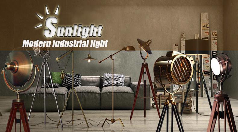 Vintage Industrial Black Tripod Fan Shape Metal Floor Lamp For ...
