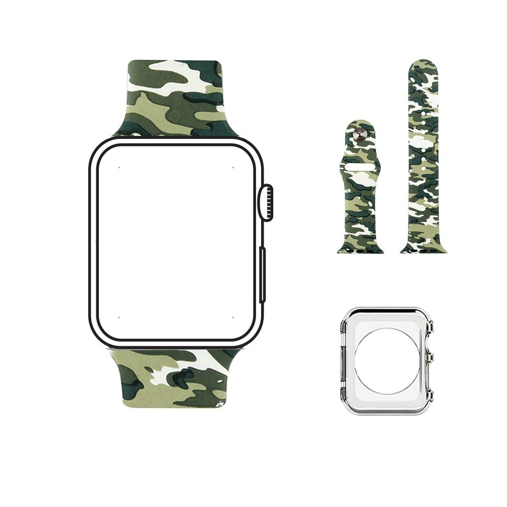 Apple Watch Band Series 1 Series 2 By 3C-LIFE, Soft Silicone Replacement Sports Band for 42mm Apple Watch 2015 & 2016 All Models, Camouflage design (Not fit 38mm Versions)