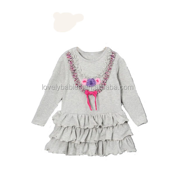 2014 New arrived grey girls dress full dress with flower
