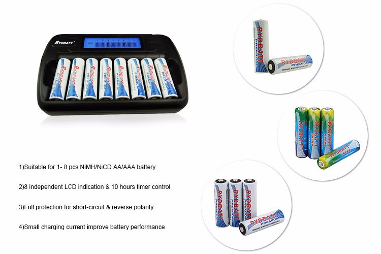 LCD indication NiMH AA/AAA battery smart charger for household flashlight
