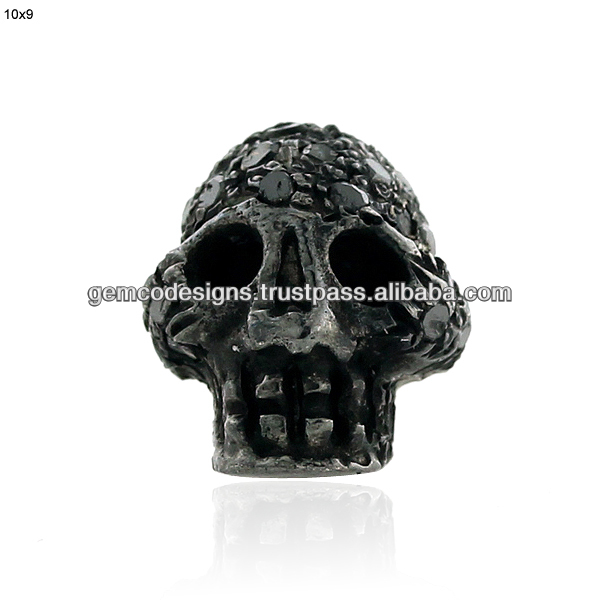 single cut black diamond studded skull shaped beads cap silver spacer handmade jewelry findings
