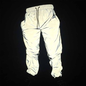 High Quality Men Hip Hop Reflective Jogger Pants with Drawstring