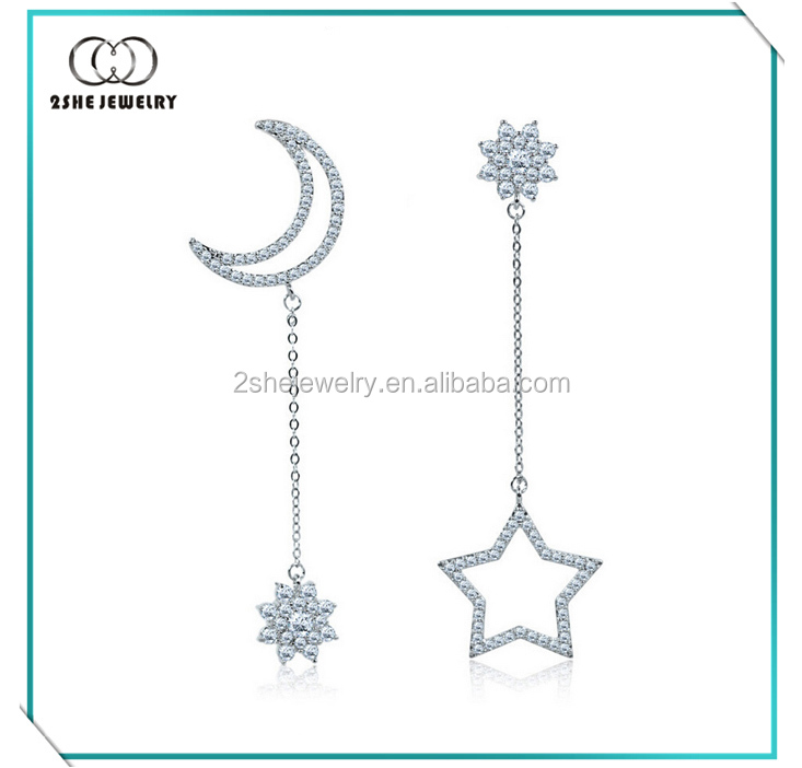 High Quality Silver Moon and Star Long Dangle Earrings