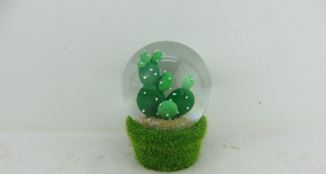 65mm Cheap Price Polyresin Custom snow globe Cacti W/h Fake Grass Table Decoration with cement Base Gift for Decoration