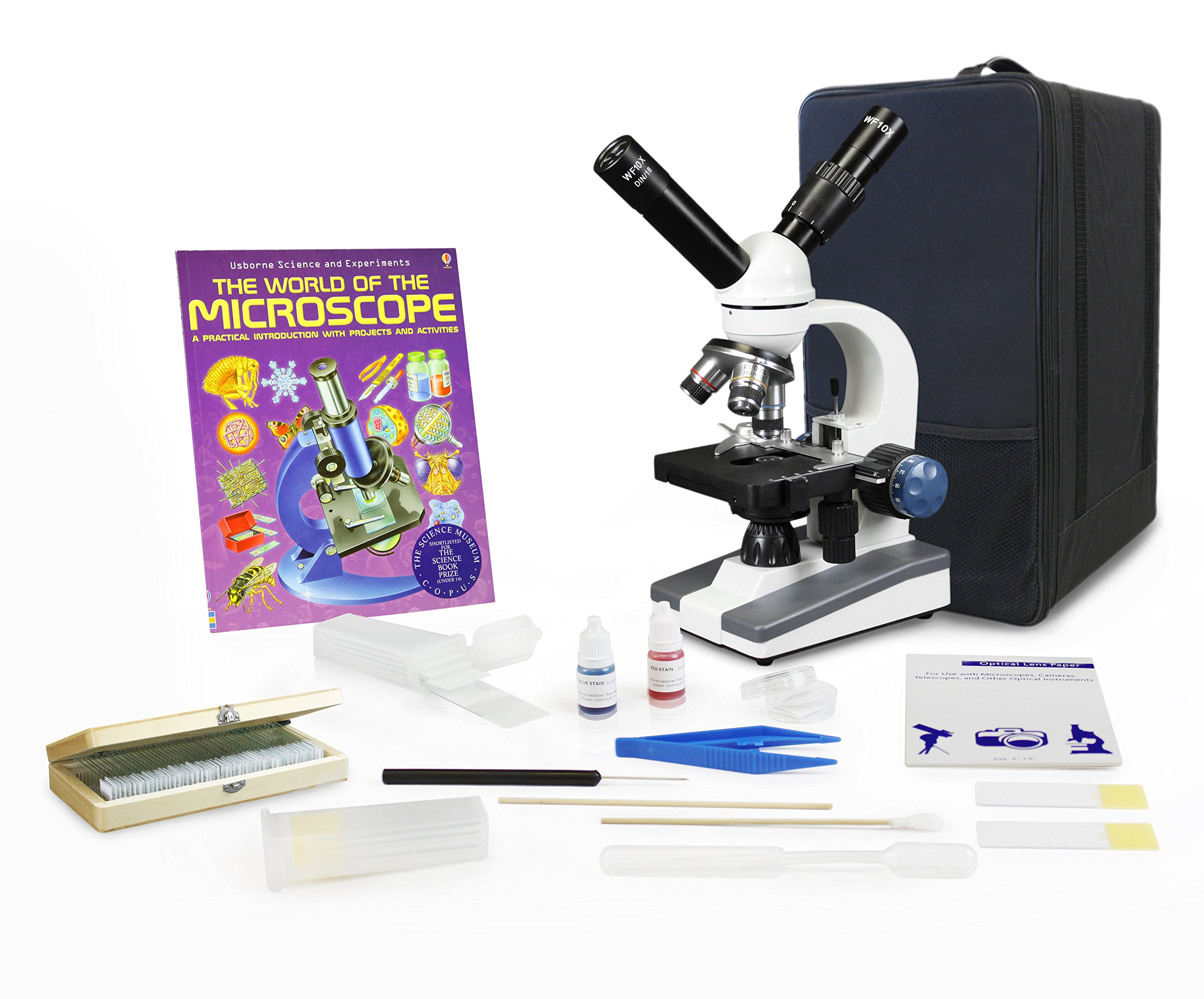 Parco Scientific Dual View Elementary Level Microscope, Mechanical Stage, Rechargeable, Microscope Book, Microscope Discovery Kit, 50 Prepared Slides Set, Carrying Case, Package (20 Value)