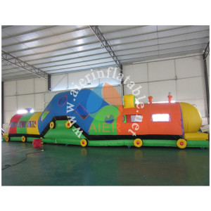 15M 49ft Colorful Train Design Inflatable Bounce Obstacle Tunnel Course For Kids Children