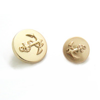 fashion round shape shank matt plated metal gold anchor button for clothes