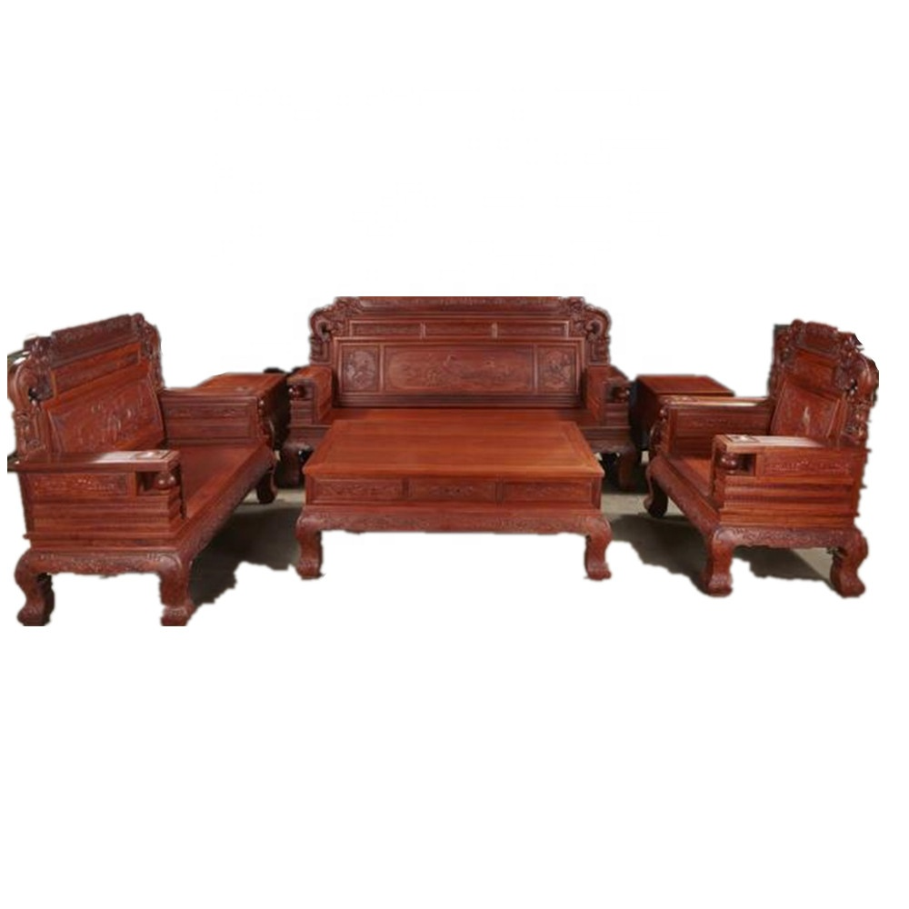 B0035 china antique luxury carved solid narra wood living room furniture with drawer sofa set