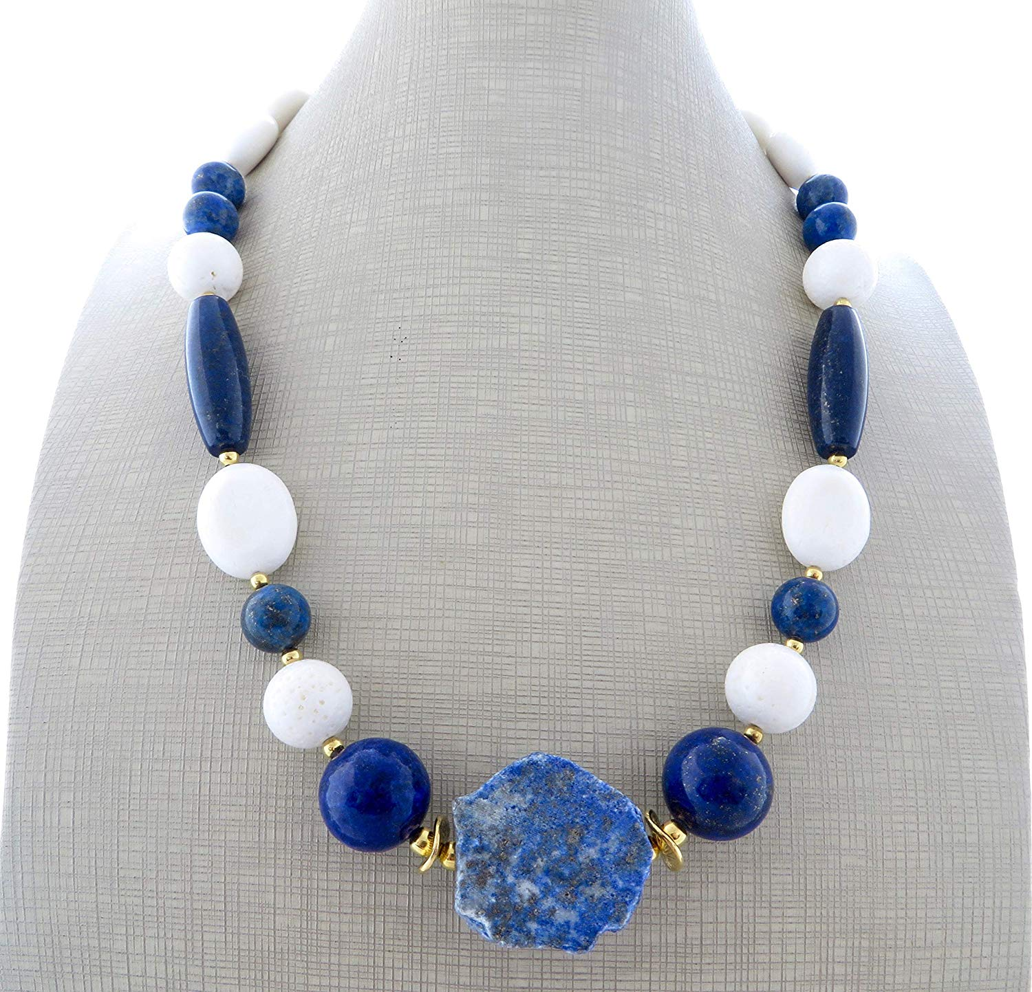 White jade necklace, blue lapis lazuli necklace, chunky choker, big bold necklace, beaded necklace, summer jewelry, italian designer, gift for her