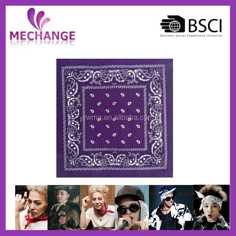 Popular G-dragon Stylish Plain Bandana Scarf With Various Color And Size