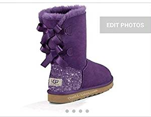 Get Quotations · Custom Uggs, Purple Bailey Uggs, Bailey Bow Uggs, Uggs, Bling Uggs,