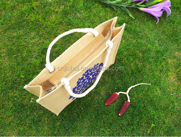 Fashion 120g plain heart transfer print jute bag