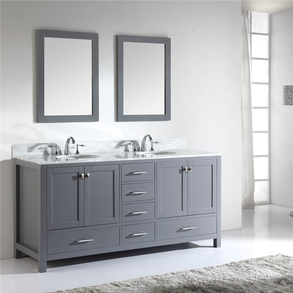 Modern Light Grey 72 Inch Double Mirror