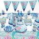 2018 Amazon Hot Selling Mermaid Party Supplies 16 Decorations Mermaid Birthday Party Supplies