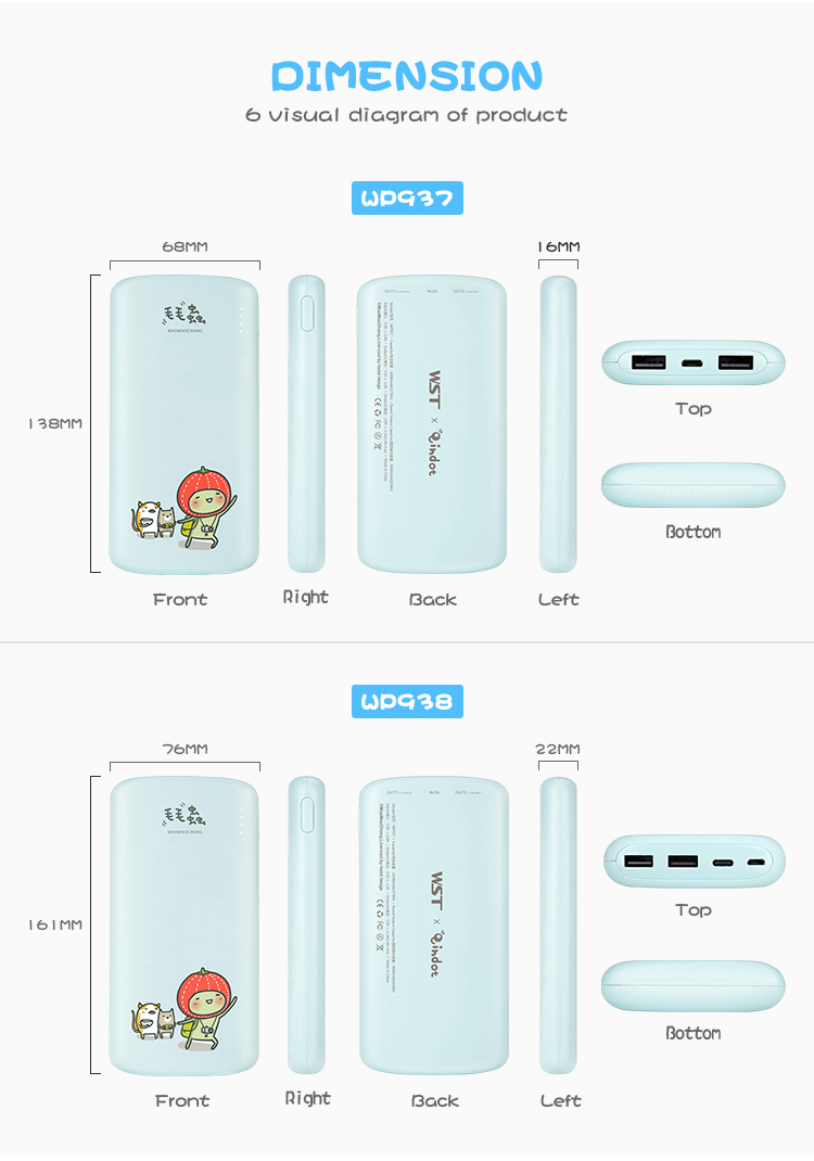 2018 new arrival ABS + PC 20000mah universal mobile creative cartoon power bank