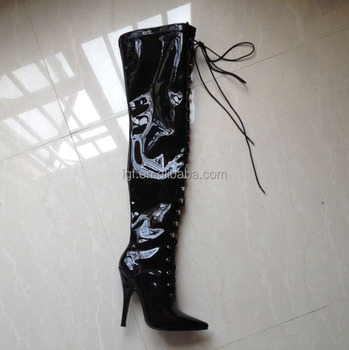 new arrival 20cm High Heel over knee pole dancing boots black thigh high  fetish boots 8 d53153e2a