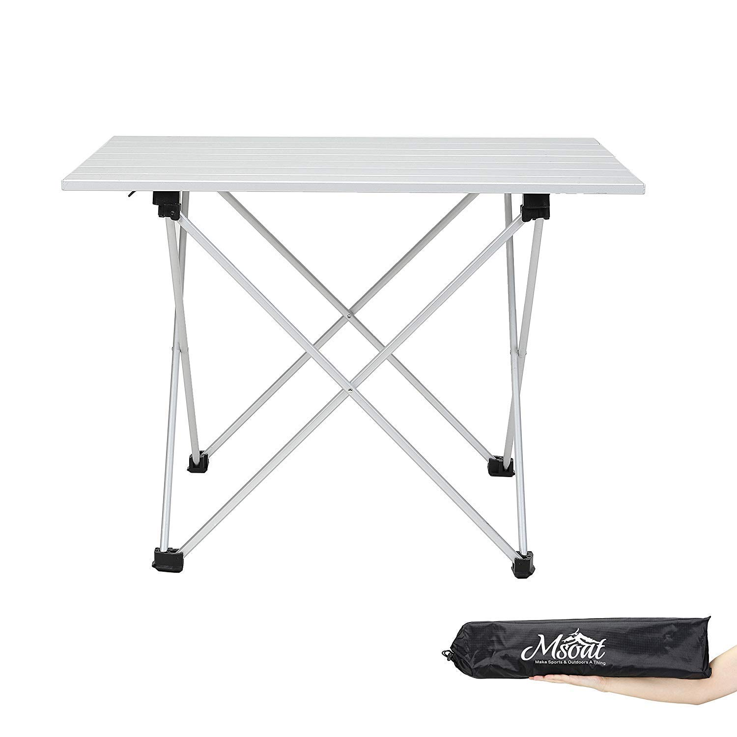 Outdoor Folding Table Folding Camping Collapsible Table Aluminum Foldable Portable Compact Ultralight Roll up Small Medium Large Size for Hiking Travel Outdoor Picnic BBQ Beach Garden,684640Cm