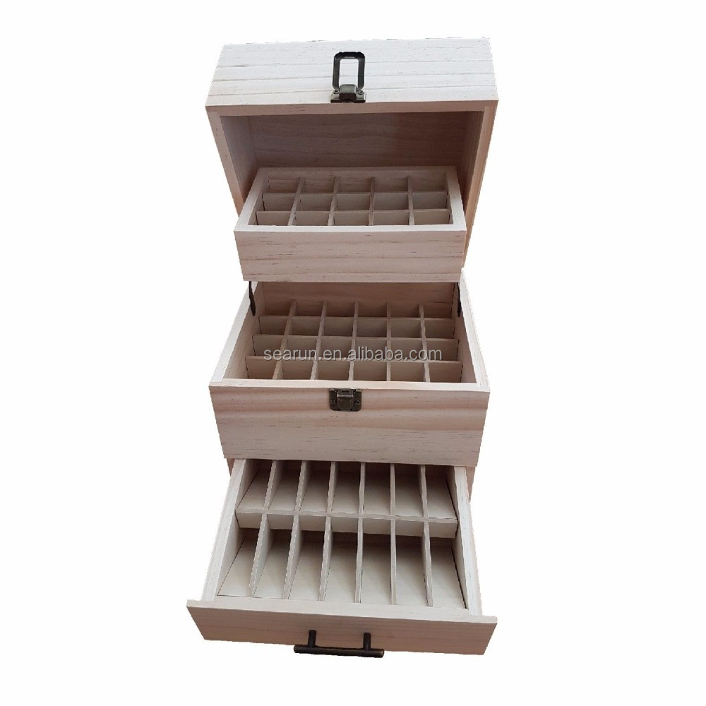 3 Tier 59 Grids Essential Oil Storage Box Case Wood Oil Bottle box