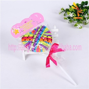 Colorful Elastic Heart Hair Band for Kids Lollipop