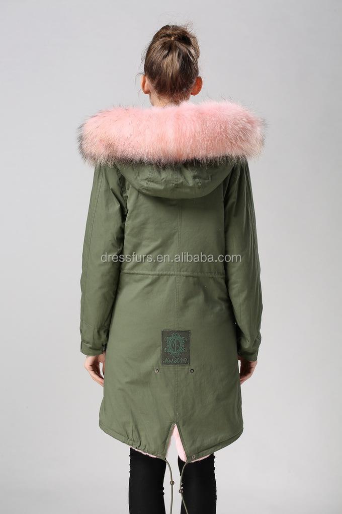 best service 0b539 0dfb5 Source Elegent pink girl long parka in green cotton shell ...