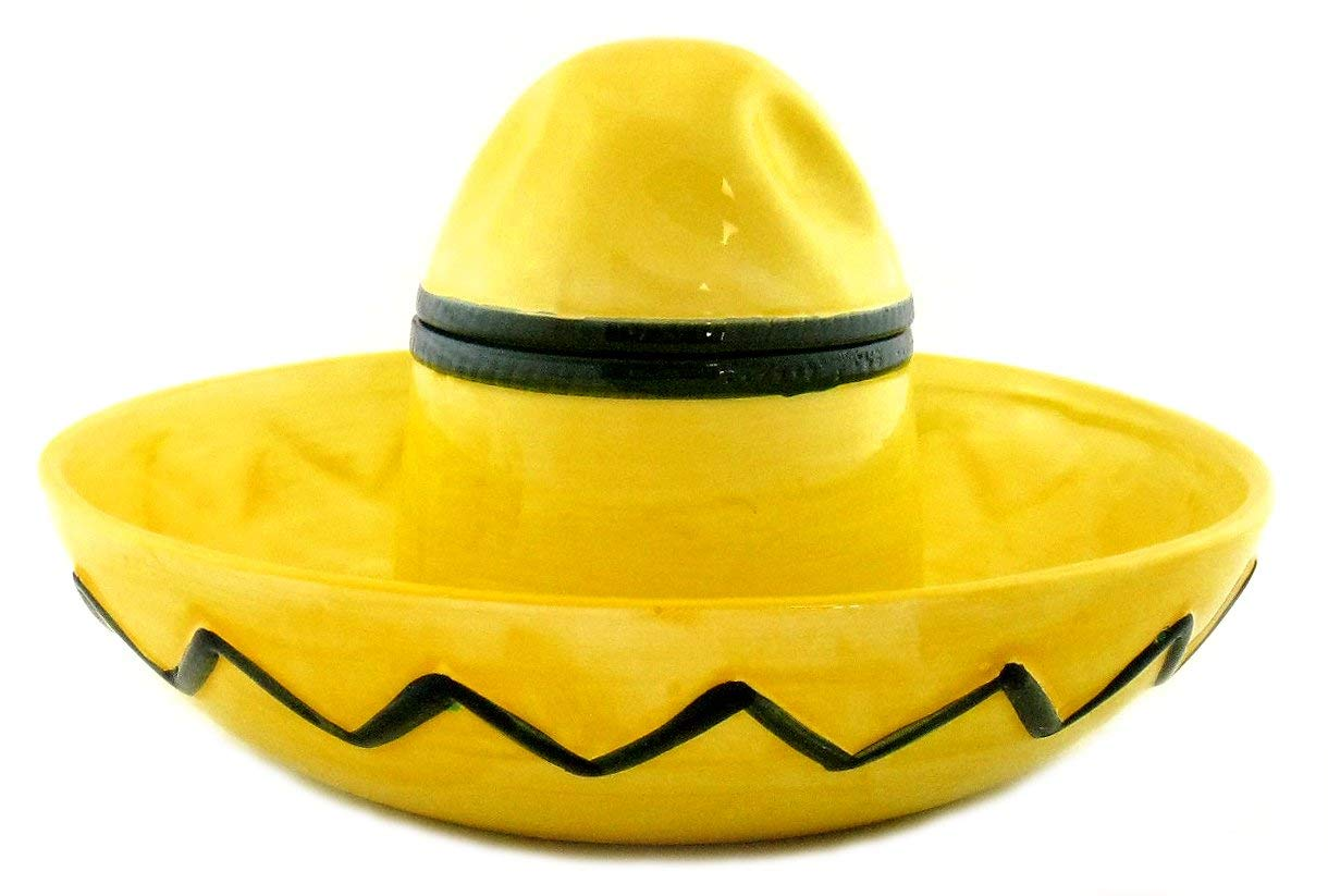 Mexican Sombrero Hat Ceramic Chip and Dip Bowl