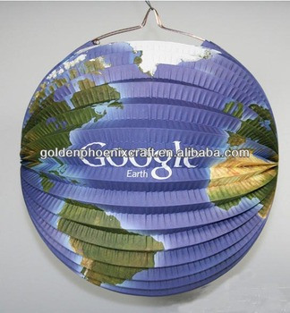 special foldable google earth design hanging paper lantern
