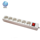 German type 6 outlet power strip with switch ports