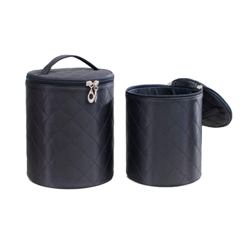 New Arrival High Quality Round Water Proof Cosmetic Bag, Quilted Cylinder Makeup Bag, Wholesale Travel Mens Women Toiletry Bag