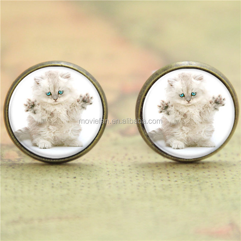 Persian Cat earring round face and long hair earring glass Photo Cat Jewelry earring