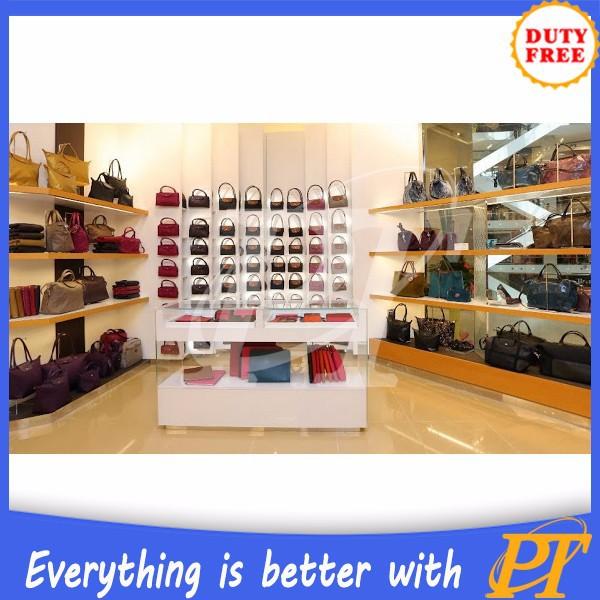 rak display toko tas: Display tas perlengkapan untuk tas toko desain interior rak