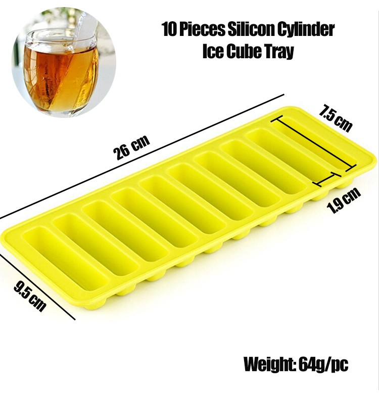 10 Cells Rectangular Yellow Minecraft Silicone Ice Mold For Water Bottle