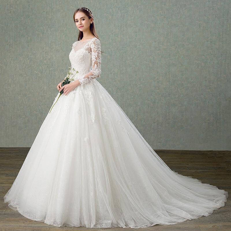 Golden Supplier Wedding Dress 2018 Long Sleeve Open Back Lace
