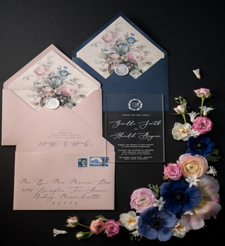 Navy Blue Europe Floral Wedding Invitation Card Matte Acrylic Wedding Cards Envelope with Linner Decoration