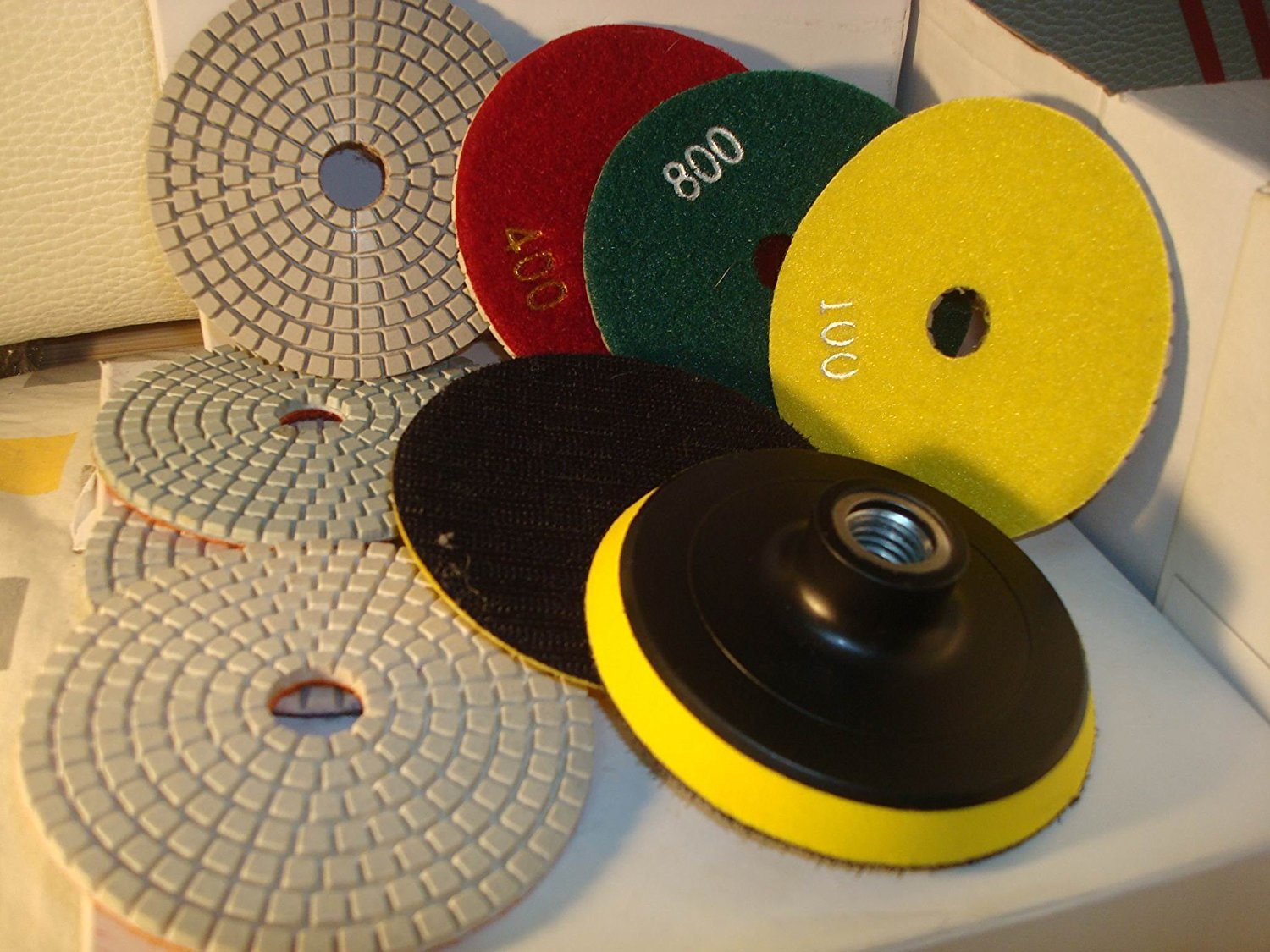 "Diamond Polishing Pads 4"" inch Wet/Dry Set of 14+1 Velcro Backer Pad 3mm Thick Granite Concrete"