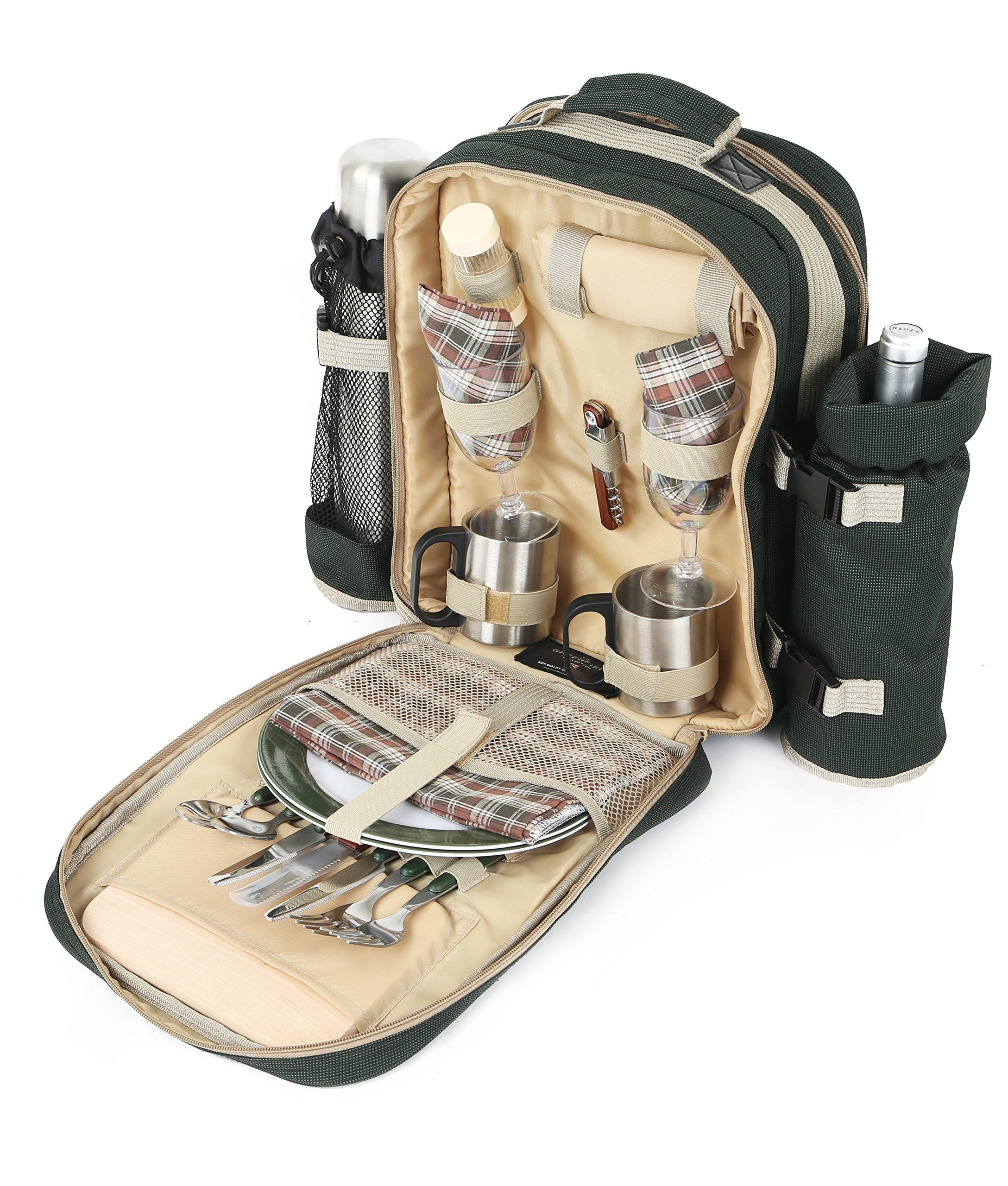 Greenfield Collection Super Deluxe Forest Green Picnic Backpack Hamper for Two People